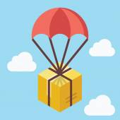 Delivery concept. Brown box floating in blue sky with parachute — Stock Vector