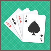 Four aces on poker table — Stock Vector