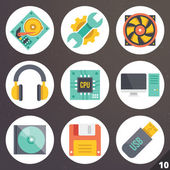 Colorful vector icons for web and mobile applications. Set 10 — Stock Vector
