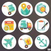 Colorful vector icons for web and mobile applications. Set 8 — Stock Vector