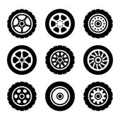Car wheels icons set — Stock Vector
