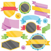 Modern colorful badges, web stickers, tags, labels and ribbons templates set. — Stock Vector