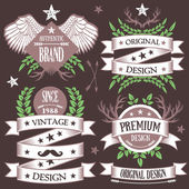 Creative vintage nature and forest concept badges, labels and ribbons set 9 — Stock Vector