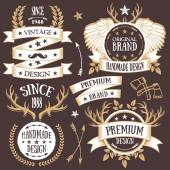 Creative vintage gold badges, labels and ribbons set 8 — Stock Vector