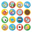 Round vector flat icons set. Poker icons concept — Stock Vector #71905055