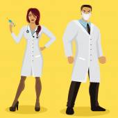 Male and female doctor characters — Stock Vector