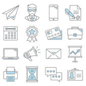 Business flat line icons set. — Stock Vector