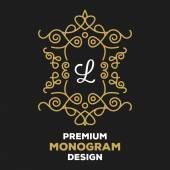 Royal calligraphic monogram emblem template. — Stock Vector