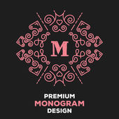 Luxury graceful pink floral monogram design template — Stock Vector