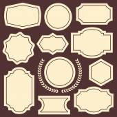 Set of vintage frames, badges, emblems, labels and insignias — Stock Vector