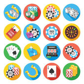 Round vector flat icons set. Poker icons concept — Stock Vector