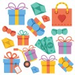 Vector gift icons set — Stock Vector #73492539