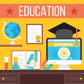 Education, online learning, online tutorials, distance education concept — Stock Vector