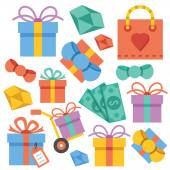 Vector gift icons set — Stock Vector