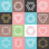 Colorful trendy ornaments, badges, frames, logo design templates set. — Stock Vector