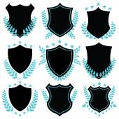 Vintage vector badges and shield shapes — Stock Vector
