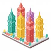 Vector isometric city map with colorful skyscrapers. — Stock Vector