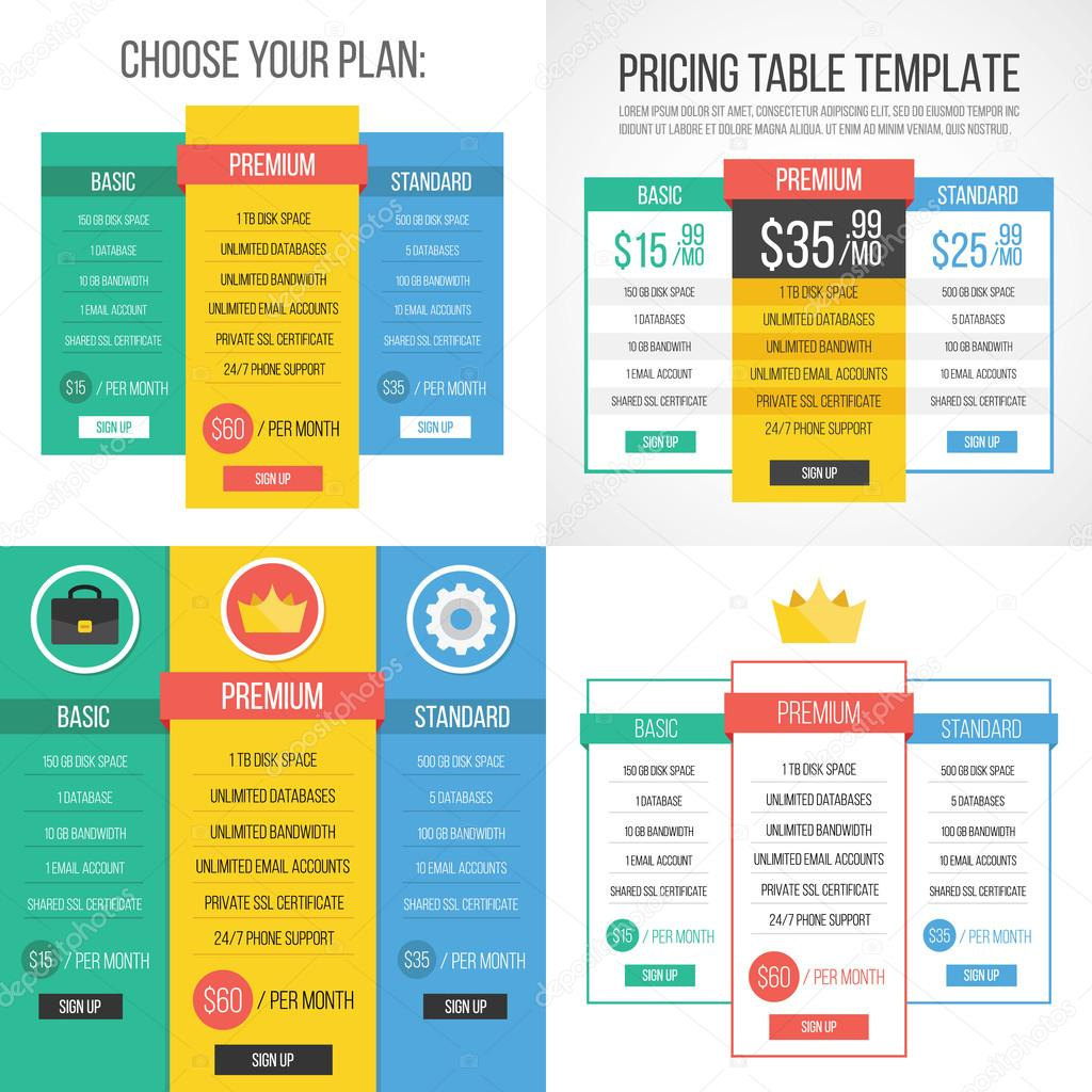 4 different pricing tables creative graphic design for Table graphic design