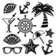 Summer pictograms set. Original set of black icons. — Stock Vector #74779481