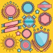 Creative set of cartoon stickers, badges and labels. Set 2 — Stock Vector #74779527