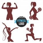 Fitness logo set. Elegant women silhouettes — Stock Vector #74779619