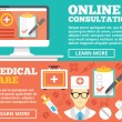 Online consultation and medical care flat illustration concepts set — Stock Vector #74779957