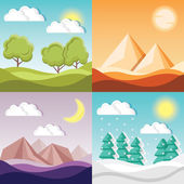 4 cartoon nature backgrounds and landscapes with different seasons — Stock Vector