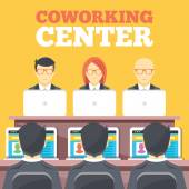 Coworking center, business meeting, office workplace flat illustration concepts set — Stock Vector