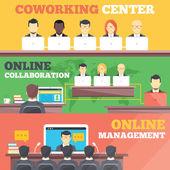 Coworking center, online collaboration, online management flat illustration concepts set — Stock Vector
