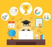 Education, distance education, high school, online tutorials illustration — Stock Vector