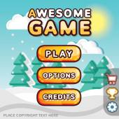 Main menu game interface kit. Winter scene — Stock Vector