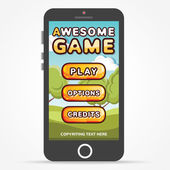 Black smartphone with game start screen — Stock Vector