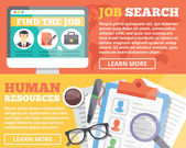 Job search and human resources flat illustration concepts set — Stock Vector
