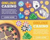 Online casino flat illustration concepts set — Stock Vector