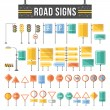 Постер, плакат: Flat road signs set