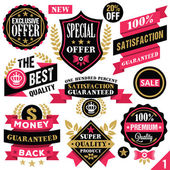 Premium quality stickers, badges, labels and ribbons. Set 1 — Stock Vector