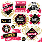 Premium quality stickers, badges, labels and ribbons. Set 3 — Stock Vector