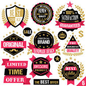 Premium quality stickers, badges, labels and ribbons. Set 6 — Stock Vector