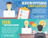 Recrutamento de funcionários, o conjunto de conceitos de ilustração plana de entrevista de emprego — Vetor de Stock