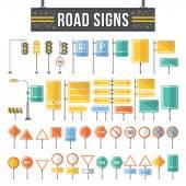 Flat road signs set — Stock Vector