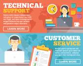 Technical support, customer service flat illustration concepts set — Stock Vector