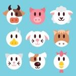 Farm animals faces icons set — Stock Vector #75328837