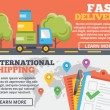 Fast delivery and international shipping flat illustration concepts set — Stock Vector #75328879