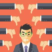 Angry businessman and many hands with thumbs down — Stock Vector
