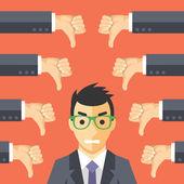 怒っているビジネスマンおよび多くの手の親指と — ストックベクタ