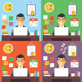 Businessman at work concept illustrations set — Stock Vector