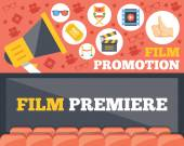 Film promotion and film premiere flat illustration concepts set. — ストックベクタ