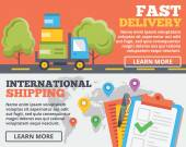 Fast delivery and international shipping flat illustration concepts set — Stock Vector