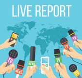 Live report concept. Many journalists hands with microphones and tape recorders — Stock Vector