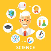 Science concept illustration. Scientist character and trendy flat icons set — Stock Vector